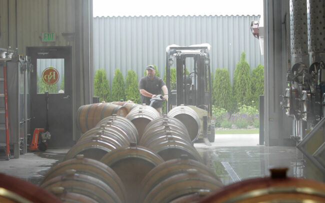 Barrel work in the Rocky Pond Winery